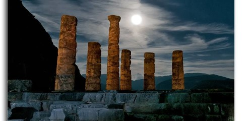 August full moon at the Temple of Apollo - Delphi